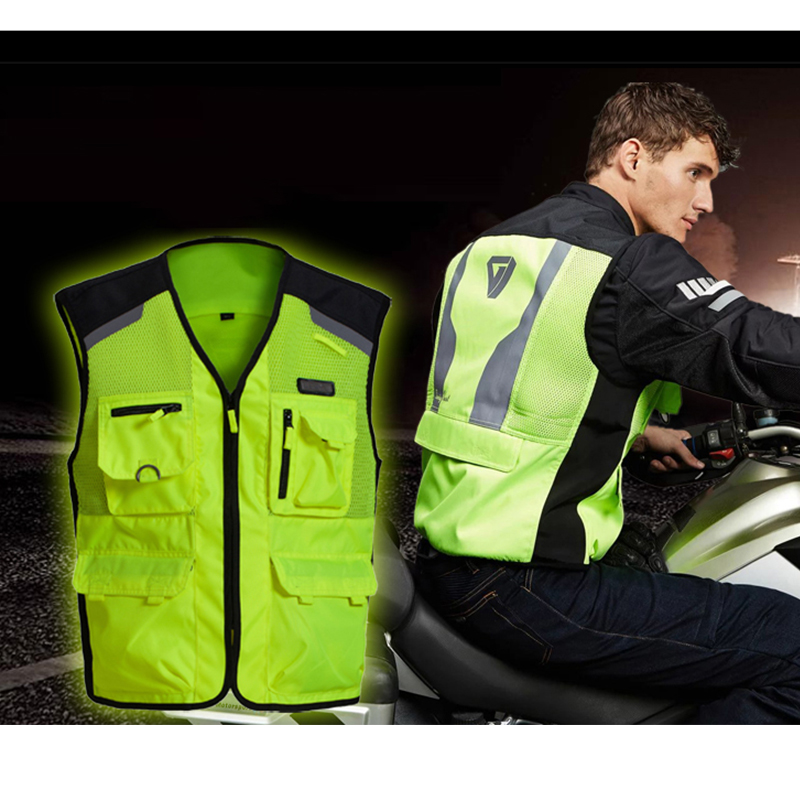 Brand NERVE Motorcycle Night Riding High Visibility Jackets Moto Summer Breathable Mesh Reflective Safety Vest for Men and Women adjustable pro safety equestrian horse riding vest eva padded body protector s m l xl xxl for men kids women camping hiking
