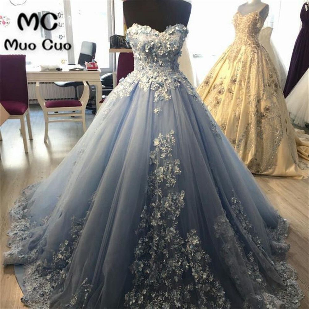 Elegant 2017   Prom     Dresses   Long Ball Gowns 100% Real Tulle Sweetheart Appliques Evening   dress   Formal Long Women   Prom   Gown