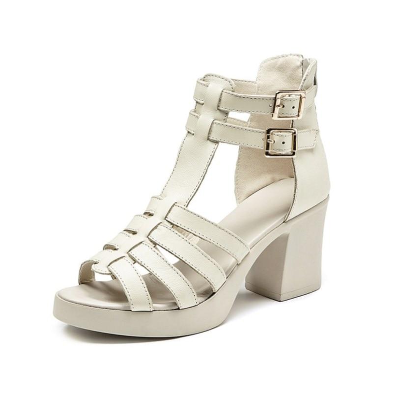 Женские сандалии на высоком каблуке, мягкие повседневные сандалии из натуральной кожи на молнии, лето 2019|Боссоножки и сандалии|   | АлиЭкспресс