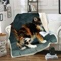 Дропшиппинг кошка 3D принт шерпа одеяло на кроватях Животное Мультфильм плюшевое пледы одеяло для детей покрывало бульдог диван крышка 1 шт