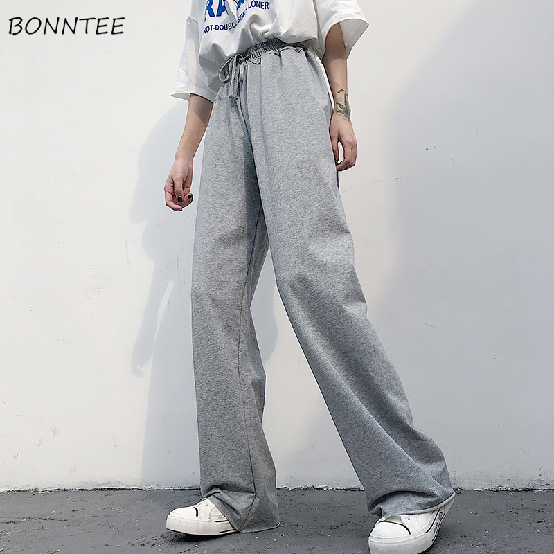 Pants Women 2019 Spring Summer Straight High Waist Korean  Style Casual Loose Womens Solid Drawstring Trousers All-match Chic
