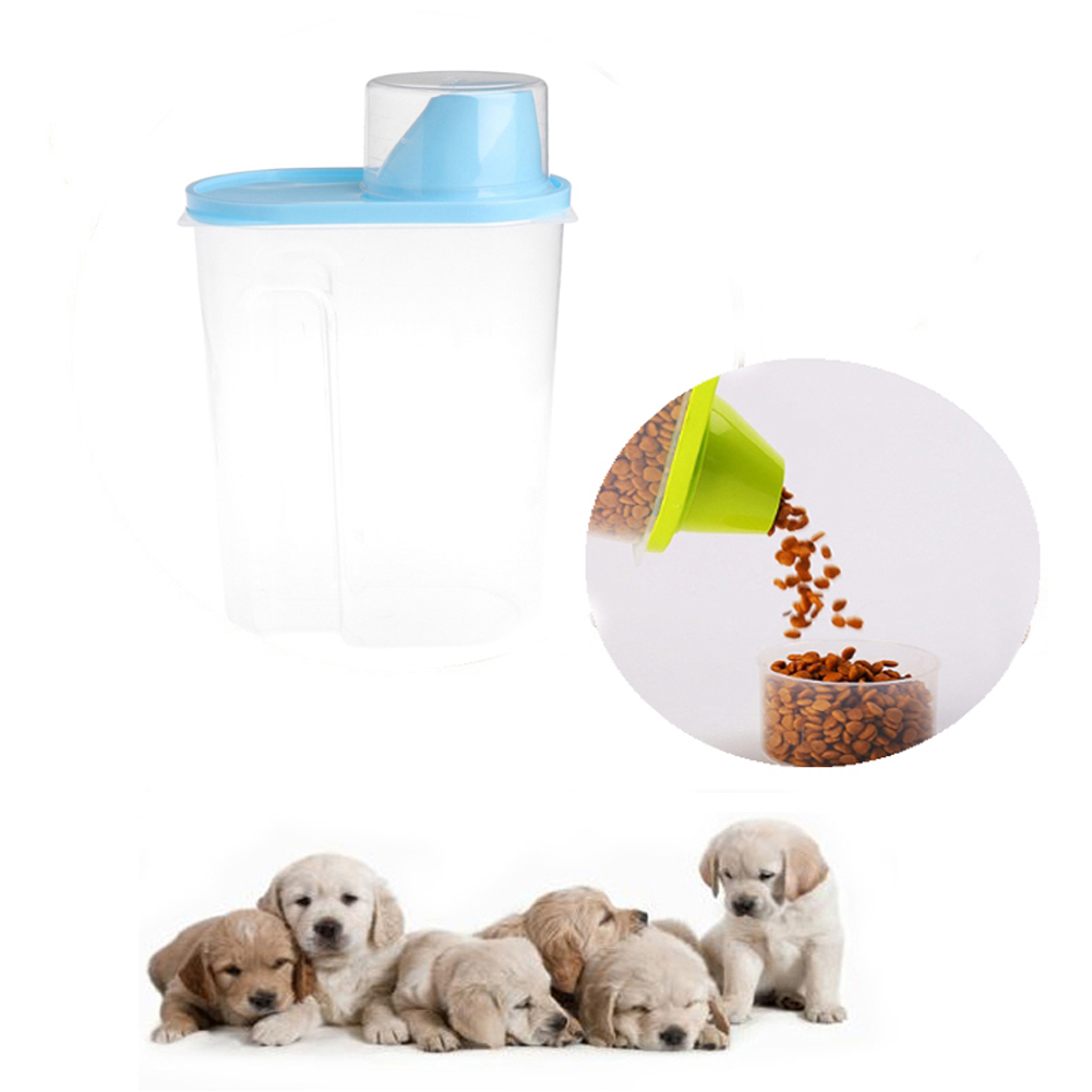 Pet Dog Feeder Storage Food Sealed Container Anti-oxidation Dry Food Dispenser Fresh Box Dog Bucket With Measuring Cup
