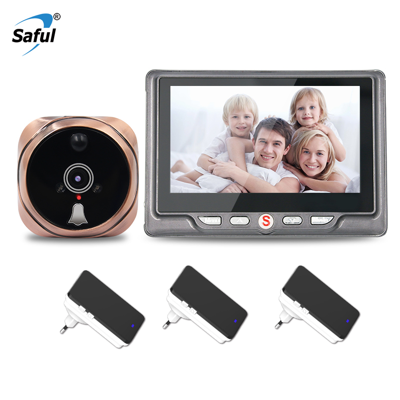 Saful 4.3wireless Door Peephole Camera Call Digital with Motion Detect Video Recording Night Vision+3 Wireless indoor receiver