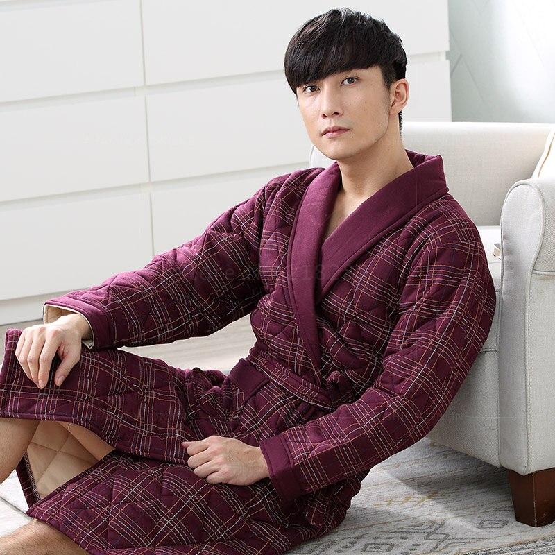 Brand New Winter Men s Nightgowns Warm Striped Robes Men Bath Robe Quilted  Sleepwear Robe Spa Shower Bathrobe Plus Size 3XL -in Robes from Underwear  ... 934688bb0