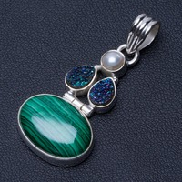 Natural Malachite,River Pearl and River Pearl Punk Style 925 Sterling Silver Pendant 1 1/2 Q0067