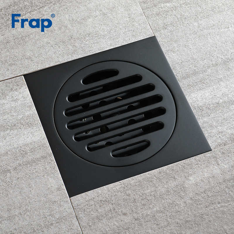 Frap New Drains Copper Bathroom Black Waste Drains Floor Cover Anti-odor Washroom Shower Drain Strainer Bath Hardware Y38106