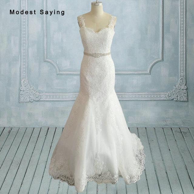 Elegant White Mermaid Lace and Beading Wedding Dresses 2017 with ...