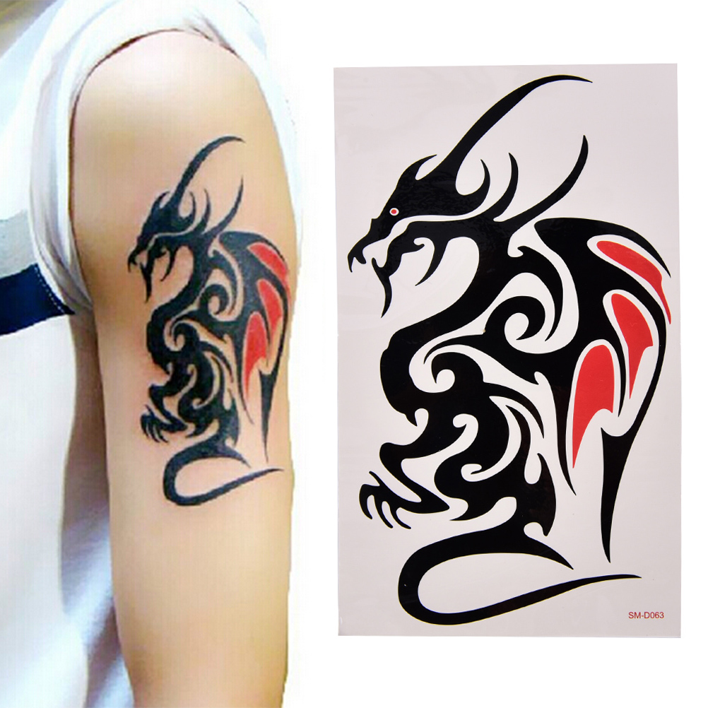 1 Sheet Wolf Tiger Dragon Body Art Temporary Women Men Tattoo Waterproof Large Tattoo Sticker Cool Skin Decor