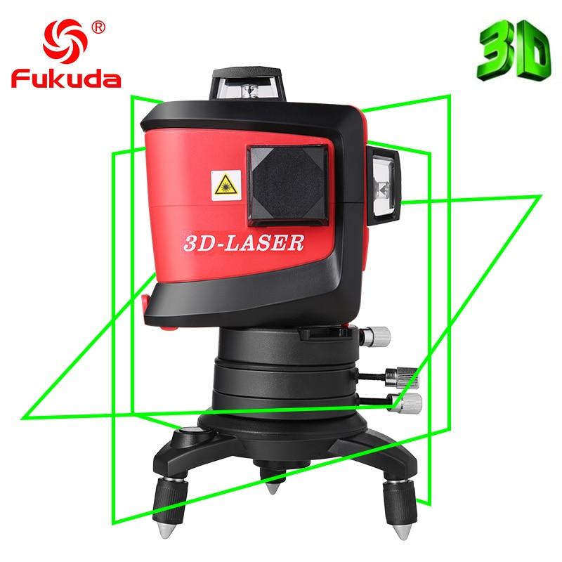 Fukuda marque 12 lignes 3D MW-93T-G-LI niveau Laser auto-nivelant 360 croix horizontale et verticale faisceau Laser vert Super puissant