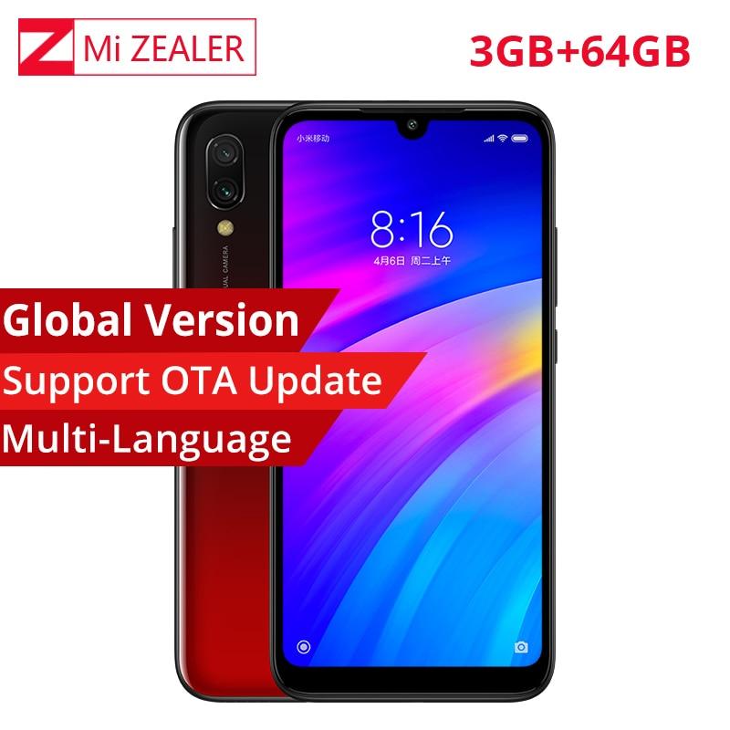 Em estoque versão global xiaomi redmi 7 telefone móvel 3 gb + 64 gb snapdragon 632 octa core 4000 mah 6.26