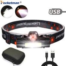 En güçlü far XPE + COB USB şarj edilebilir kafa lambası dahili pil kafa ışık su geçirmez baş feneri kamp kafa lambası