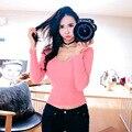 Бесплатная доставка Розовый Женщины Футболки 2016 Новая Мода О-Образным Вырезом Повседневная Футболка С Длинными Рукавами Футболки Сексуальная Женщина M16372