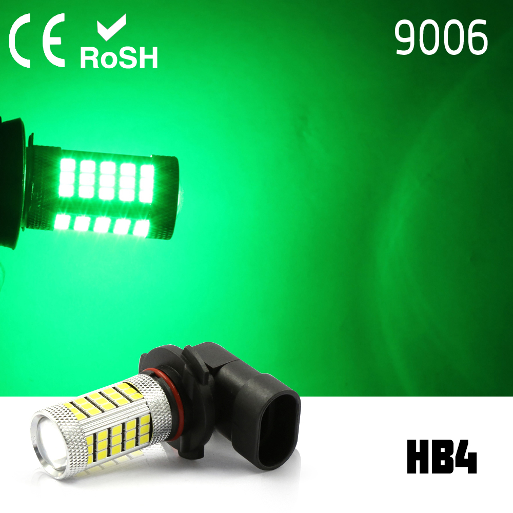 2x 9006 HB4 High Power 63 LED White Projector Fog Driving DRL LED Light Lamps green