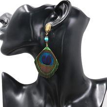 Серьги с перьями для женщин большие богемные этнические Висячие