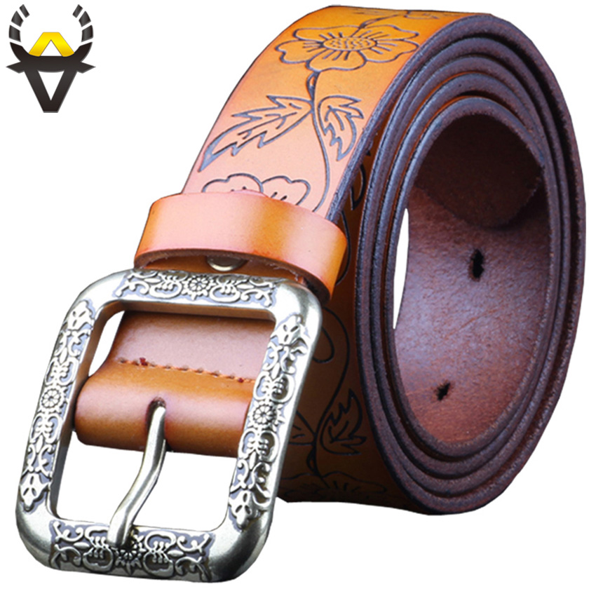 Fashion Genuine leather   belts   for women Wide vintage floral   belt   female High quality Second Layer Cowskin strap for Jeans woman