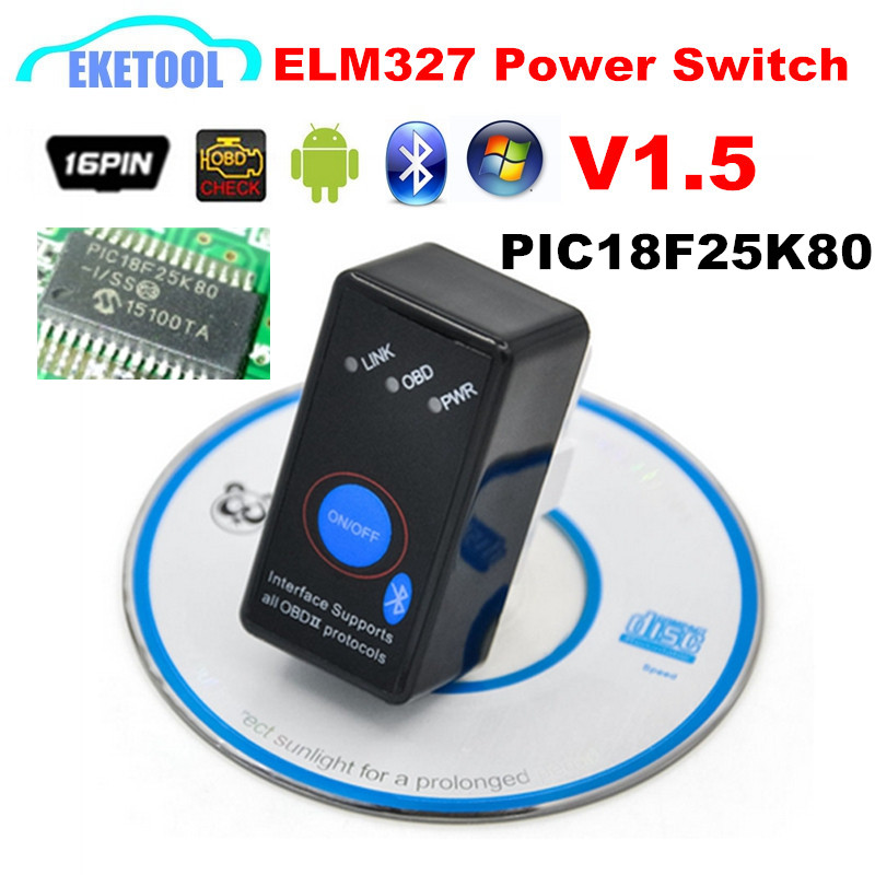PIC18F25K80 V1.5 ELM327 Bluetooth With Power Switch Hardware V1.5 Works Android/Windows Super ELM 327 Switch ON/OFF Code Reader