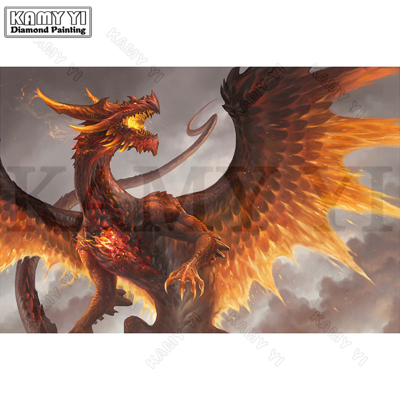 Rhinestone Painting Crystal DIY Diamond Painting Full Square/Round Cross Stitch Golden Dragon Pattern Diamond Embroidery