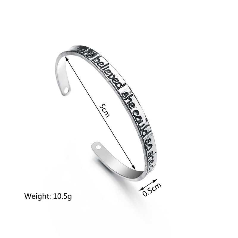 MissCyCy Engrave она верила, что она может, так что она делает буквы манжеты Браслеты Винтаж дружбы браслет браслеты для подарков для женщин подарок