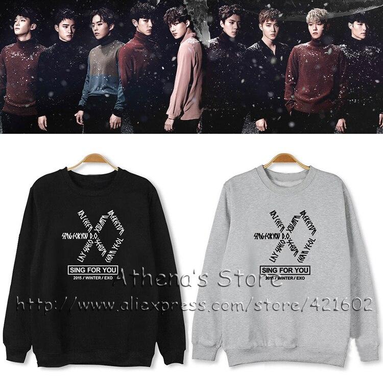2016 Kpop Exo Sing For You Symbol Hoodie South Korea Style Long Shirt Kpop Clothing Fashion