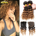 8A Virgin Indian Ombre Curly Hair With Closure Short Bob Human Hair Weave With Closure 3 Bundles With Closure Indian Deep Curl