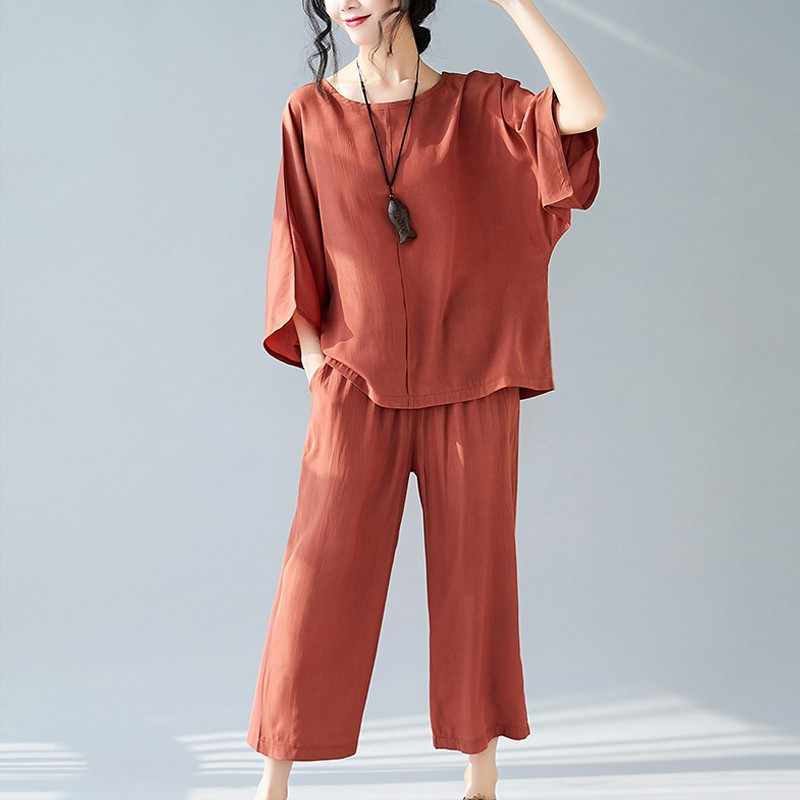 2019 New Fashion spring Two Piece Set Women Clothes Suits Cotton Linen Loose Tops+Wide leg pants Women's Casual Set Suits