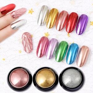 Image 2 - Urodzony królowa Super połysk paznokci błyszczy lustro tytanowy proszek różowe złoto srebro metaliczny Manicure paznokci chromowane artystyczne kurz dekoracji