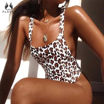 Sexy Leopardo Sem Encosto Cortar Alta Waisted Monokini Triquini Maiô Fio Dental Feminino Brasileiro Mulheres Swimwear Um Pedaço Swimsuit