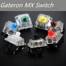 Gateron interruptor para teclado mecánico compatible con teclado mecánico, caja transparente mx, verde marrón, azul, 3 pines, adn, 5 pines