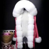 Real Fur Coat Women Winter Thick Warm Large Natural Fox Fur Hood Parka Jacket Detachable Real Rex Rabbit Fur Liner Jacket Coat
