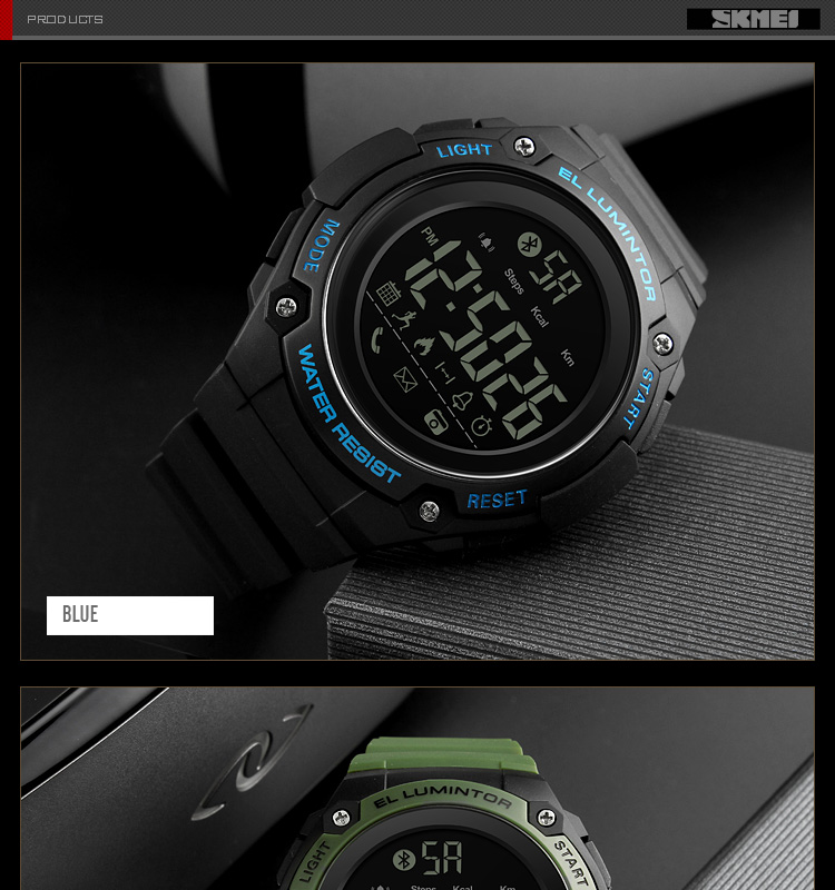 SKMEI 2019 New Bluetooth Sport Smart Watch Men Waterproof Calories Pedometer digital SmartWatch For IOS Android (18)