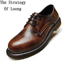 ФОТО men full grain leather round toe lace up office shoes genuine leather