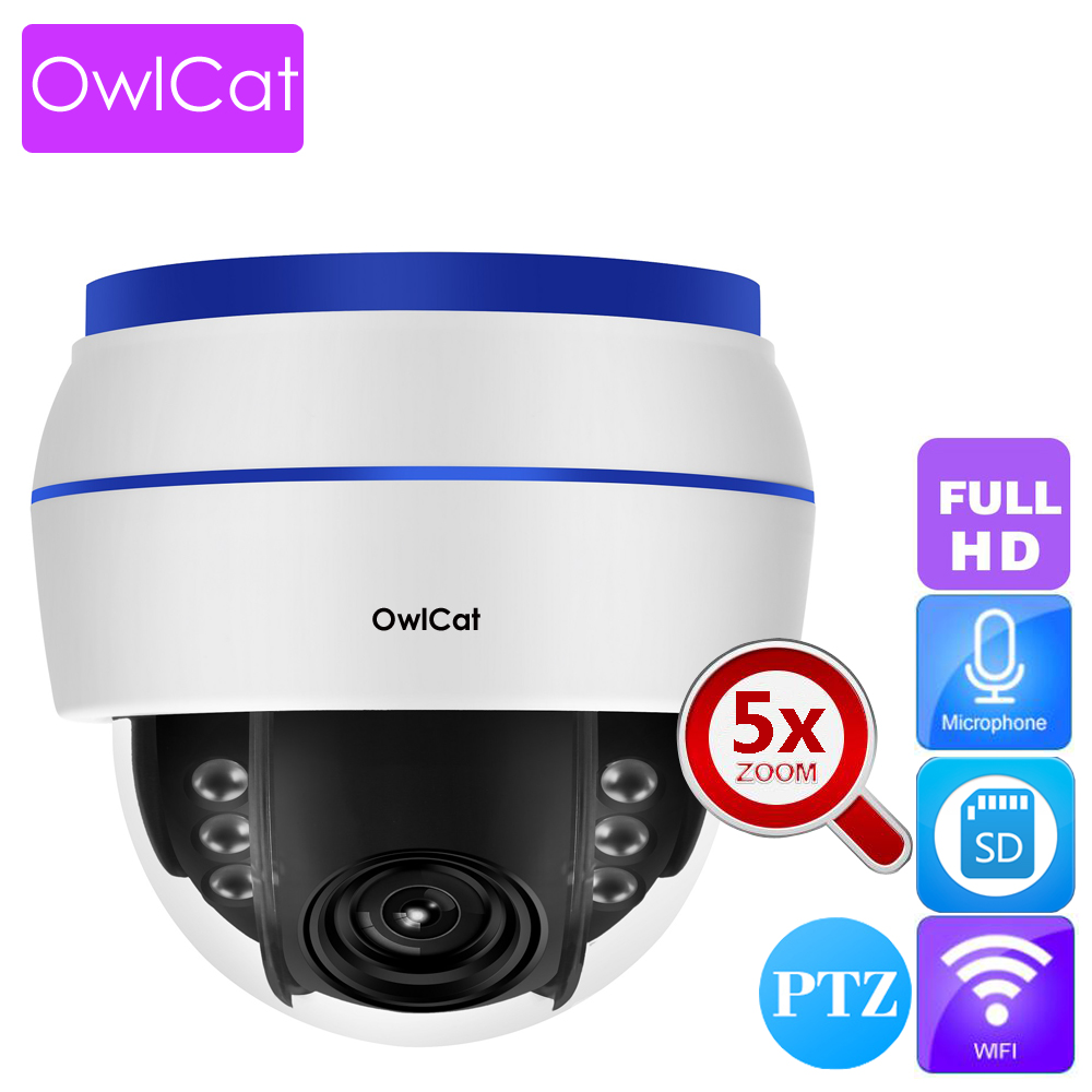 OwlCat Indoor Dome IP Camera WIFI 1080P HD 5x Optical Zoom PTZ Audio Microphone Wireless Video Surveillance Network Cam SD slotOwlCat Indoor Dome IP Camera WIFI 1080P HD 5x Optical Zoom PTZ Audio Microphone Wireless Video Surveillance Network Cam SD slot
