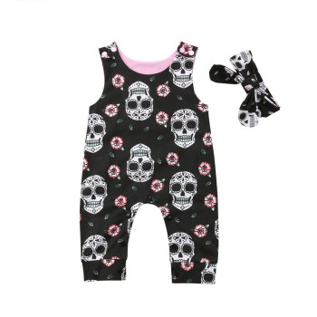 Canis 2Pcs Newborn Baby Boys Girls Skull Romper Jumpsuit Headband Outfit Clothes Baby Clothes Cotton Romper Roupas de bebe Set