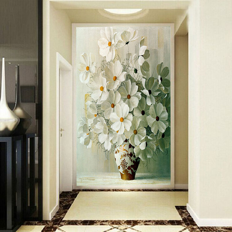 Custom photo wallpaper Large mural painting white daisy vase porch background wall vertical version 3D Wallpaper mural free shipping 3d stereo entrance hallway custom wallpaper vertical version european oil painting wallpaper mural