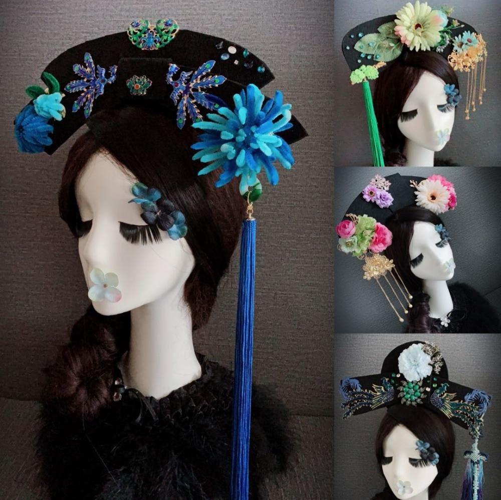 40 Designs Qing Princess Velvet Flower Qitou Headwear Hair Tiara Thematic Photography Hair Piece TV Play Story of Yanxi Palace