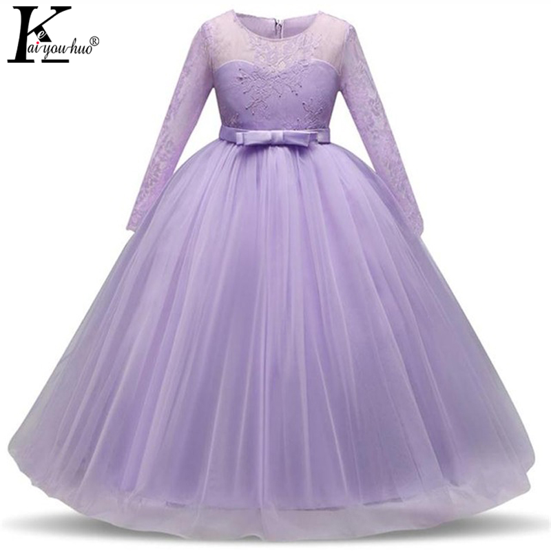 Children Clothing Girls Princess Dress Lace Long Sleeve Party Teenager Wedding Dresses For Girls Clothes Summer Costume For Kids hot sale summer 2016 girl dress princess girls dress baby kids clothes long sleeve lace dresses wedding party children clothing