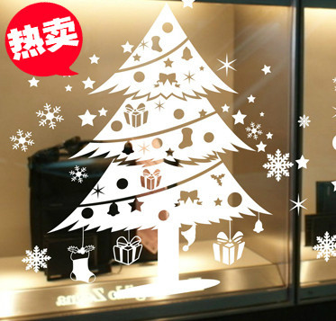 DCTAL Christmas tree glass window wall sticker decal home decor shop decoration X mas stickers xmas098
