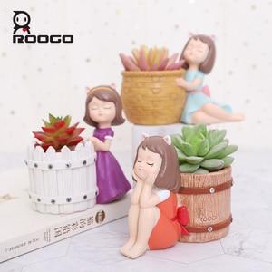 Image 3 - Roogo Resin FlowerPot American Style Decorative Flower Pots Cute Girl Succulent Planter Orchid Pot For Home Garden Balcony Decor