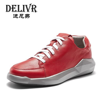 Delivr Shoes Men Sneakers 2019 Red Fashion Casual Mens Shoes Genuine Leather Male Running Outdoor Flats Men Shoes Sneakers