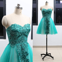 MACloth Teal Short Strapless Knee Length Short Embroidery Tulle Homecoming Dresses Dress M 264629 Clearance