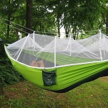 Homasy Outdoors Portable Single Person Mosquito Net Hammock Hanging Bed High Strength Parachute Nylon for Travel Camping Picnic