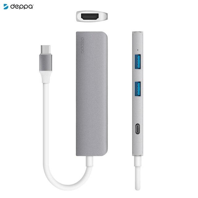 Адаптер USB Type-C, HDMI, Power Delivery, 2 x USB 3.0, графит, Deppa