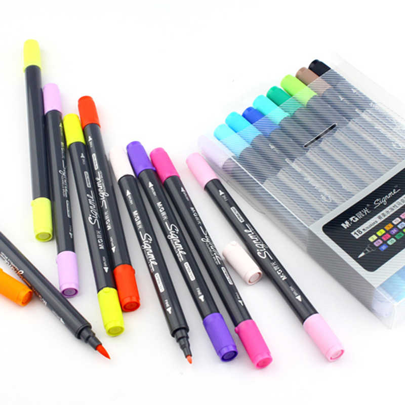 Nueva pluma de pincel acuarela de colores 12/18/24 bolígrafos de colores solubles en agua marcadores de pincel de agua para dibujo profesional para la Manga de Dessin