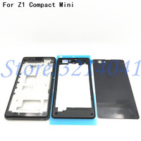 Original Front Middle Frame Port Plug Cover Back Battery Cover For Sony Xperia Z1 Compact mini D5503 Full Housing