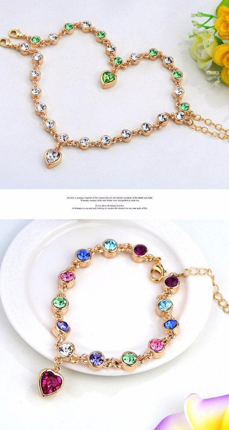 LYIYUNQ Fashion Bracelet Hot Wedding Female Heart Crystal Bracelets For Women Luxury Temperament Silver-Color Fine Jewelry Gift 11