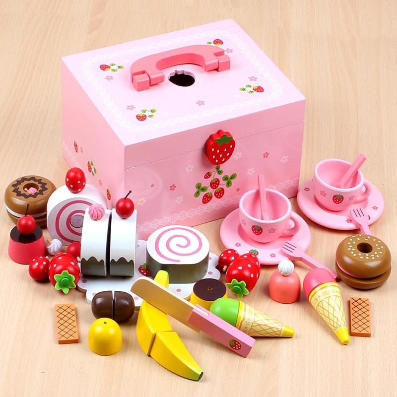Nouveau bébé jouets fraise Simulation gâteau/après-midi thé ensemble coupe jeu semblant jouer cuisine nourriture en bois jouets enfant cadeau d'anniversaire