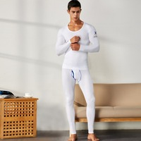 SEOBEAN 2019 WINTER AUTUMN NEW Men's sexy SOLID Long johns Low Rise Thermal Underpants leggings and top set