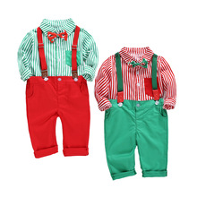 Christmas Boy Suspenders Bow Tie Outfit