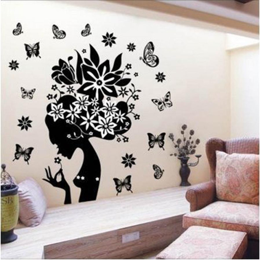Wallpaper Sticker DIY Pretty Butterfly Flower Fairy Girl PVC Wall Sticker Home Decor Decals Wallpapers For Living Room B#