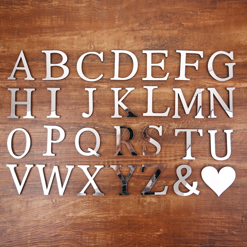 English Letters Alphabet Heart Shape 3D Acrylic Mirror Surface Wall Stickers Home Wedding Decor Fumiture Stickers ...